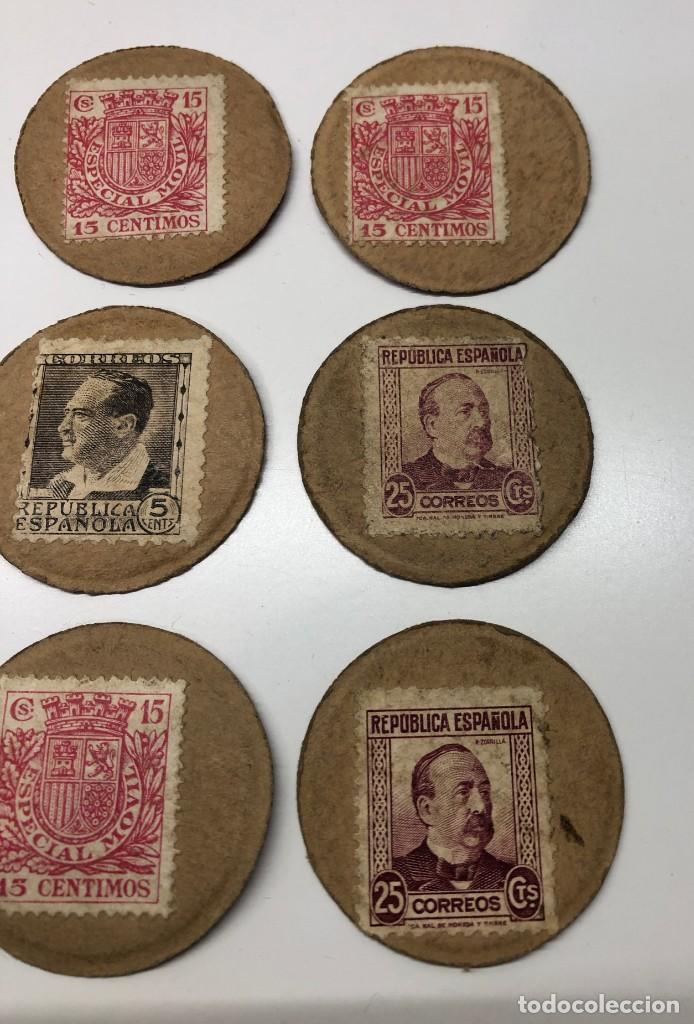 Monedas con errores: Lote 15 Fichas Cartón moneda República con sellos distintos valores - Foto 4 - 194222188