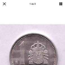 Monedas con errores: * EROR INEDITO * PUEDE SER UNA PRUEBA. 1 PTA AÑO 1987. CUÑO RAYADO Y REVERSO GIRADO 180•. . Lote 195531496