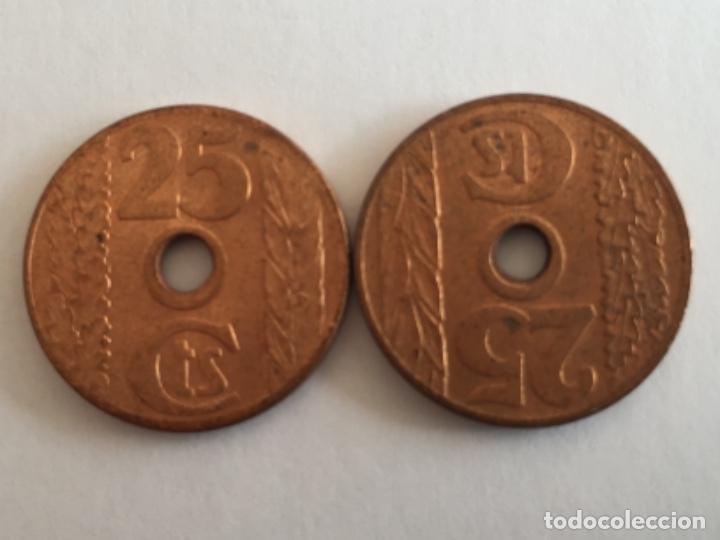 Monedas con errores: * ERROR RARISIMO Y ESCASO * 25 céntimos 1938 REVERSO GIRADO 180• n1 - Foto 2 - 195867212