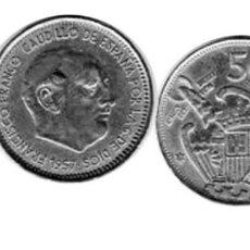 Monedas con errores: MONEDA DE ESPAÑA - 50 PESETAS - FALSA DE EPOCA - AÑO 1957*57 -. Lote 198937162