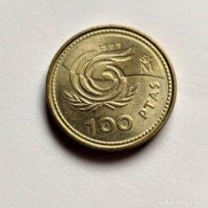 Monnaies avec erreurs: ## ERROR 100 PESETAS 1999 PERLAS UNIDAS ##. Lote 201139723