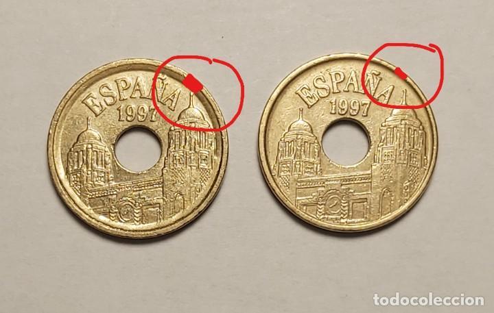 ERROR 25 PESETAS 1997 VARIANTE CANTO ANCHO (Numismática - España Modernas y Contemporáneas - Variedades y Errores)