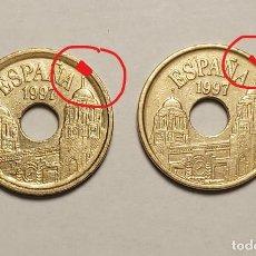 Monedas con errores: ERROR 25 PESETAS 1997 VARIANTE CANTO ANCHO. Lote 202666073