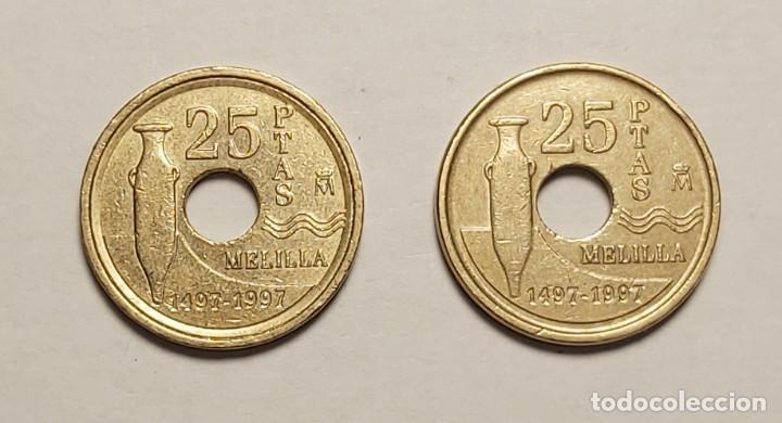 Monedas con errores: ERROR 25 PESETAS 1997 VARIANTE CANTO ANCHO - Foto 2 - 202666073