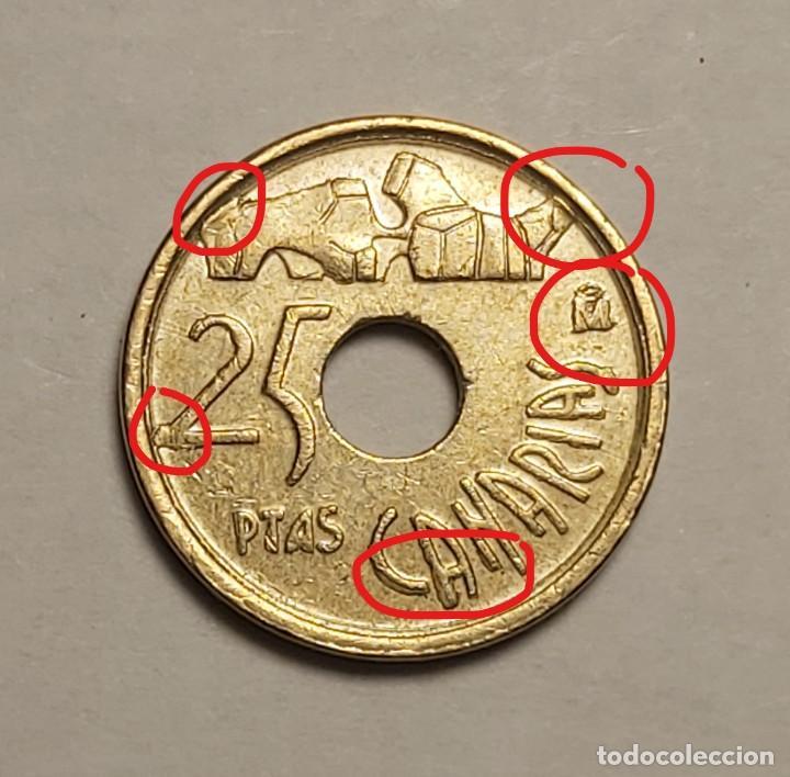 ERROR 25 PESETAS 1997 VARIANTE CANARIAS (Numismática - España Modernas y Contemporáneas - Variedades y Errores)