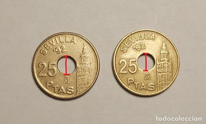 ERROR 25 PESETAS 1992 AGUJERO MÁS GRANDE (Numismática - España Modernas y Contemporáneas - Variedades y Errores)
