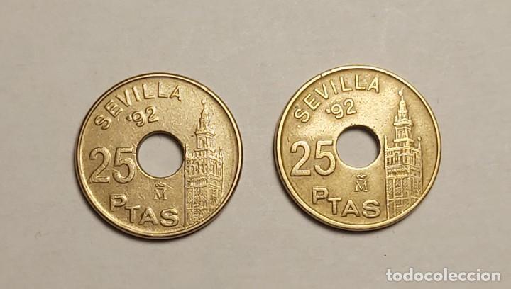Monedas con errores: ERROR 25 PESETAS 1992 AGUJERO MÁS GRANDE - Foto 2 - 202666228