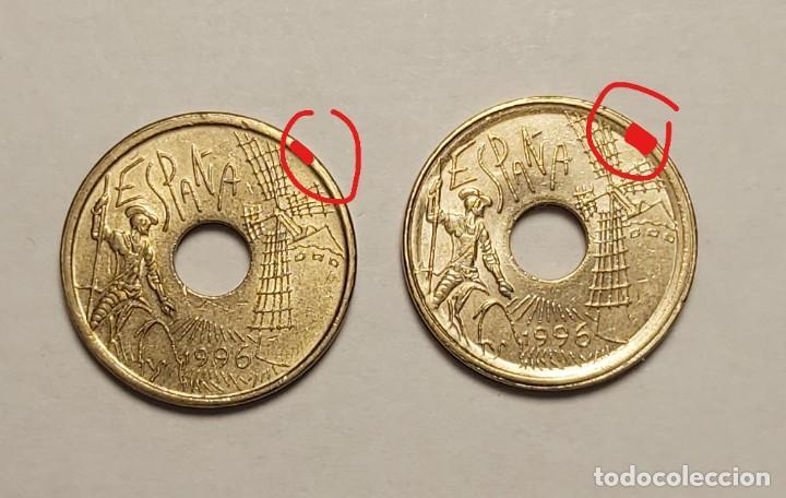 ERROR 25 PESETAS 1996 VARIANTE CANTO ANCHO (Numismática - España Modernas y Contemporáneas - Variedades y Errores)