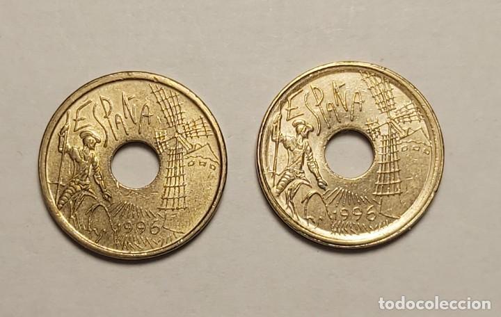 Monedas con errores: ERROR 25 PESETAS 1996 VARIANTE CANTO ANCHO - Foto 2 - 202666537