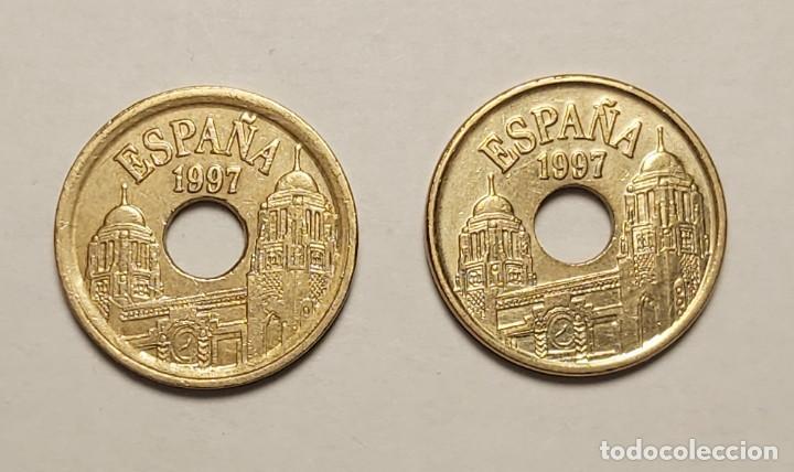 Monedas con errores: ERROR 25 PESETAS 1997 VARIANTE CANTO ANCHO - Foto 2 - 202666688