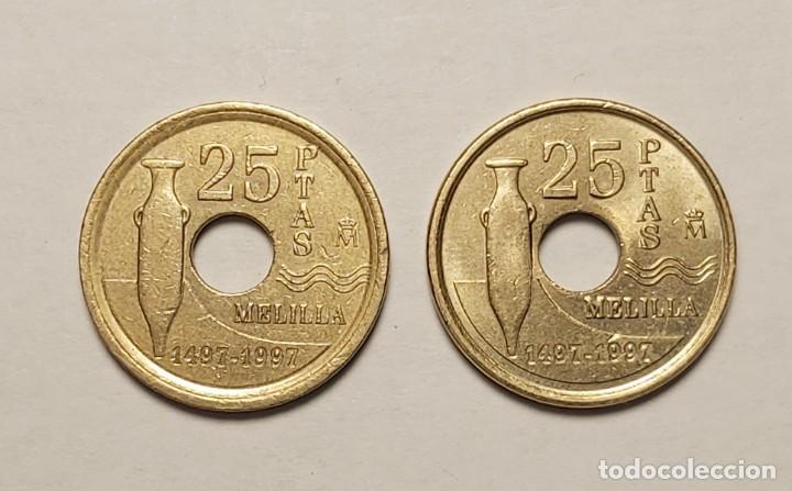 Monedas con errores: ERROR 25 PESETAS 1997 VARIANTE CANTO ANCHO - Foto 3 - 202666688