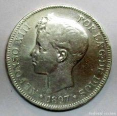 Monedas con errores: ALFONSO XIII, 5 PESETAS DE PLATA 1897 * 18 - 97 CECA DE MADRID-S.G.V. RARA REVERSO GIRADO. LOTE 2741. Lote 203263868