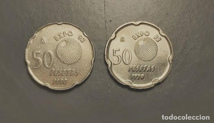 Monedas con errores: LA VARIANTE MÁS RARA 50 PESETAS 1990 ERROR PANTÓGRAFO - Foto 2 - 205851401