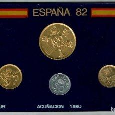 Monedas con errores: JUEGO DE MONEDAS MUNDIAL FUTBOL ESPAÑA 82 ACUÑACIÓN 1.980 ESTUCHE ANFIL. Lote 212373448