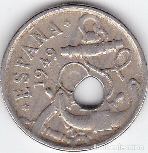 ERROR 50 CENTIMOS 1949, AGUJERO DESPLAZADO. 498-L (Numismática - España Modernas y Contemporáneas - Variedades y Errores)