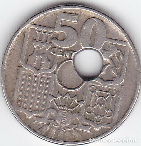 Monedas con errores: Error 50 centimos 1949, agujero desplazado. 498-L - Foto 2 - 213112297