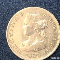 """Monedas con errores: """"ÚNICA"""" 2 ESCUDOS DE ORO 1865. Lote 214988008"""