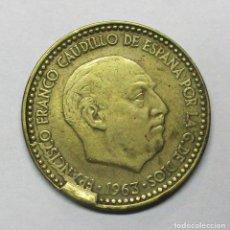 Monedas con errores: ESTADO ESPAÑOL. UNA PESETA DE 1963 * 19 - 63 O 65? CON EXCESO DE METAL EN EL COSPEL. LOTE-3423. Lote 218520640