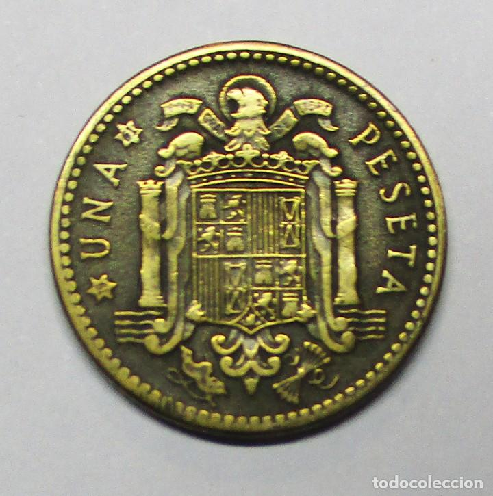 Monedas con errores: ESTADO ESPAÑOL. UNA PESETA DE 1953 * 19 - 61 CON EXCESO DE METAL LOBULO EN CARA. LOTE-3425 - Foto 2 - 218526161