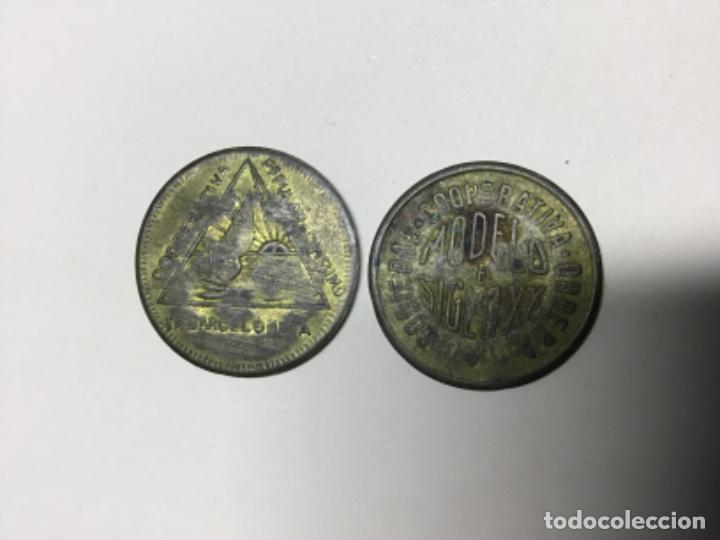 FICHAS MONEDA DE 5 Y 10 CÉNTIMOS. BUENA CONSEVACION. RESELLADAS (Numismática - España Modernas y Contemporáneas - Variedades y Errores)