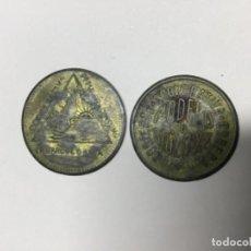Monnaies avec erreurs: FICHAS MONEDA DE 5 Y 10 CÉNTIMOS. BUENA CONSEVACION. RESELLADAS. Lote 222089425