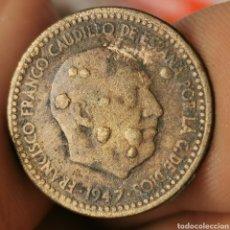 Monnaies avec erreurs: A05. ERROR EXTREMO! PESO - 10%! 1 PESETA 1947. 3,19G (-0,31) Y GALLEO MÚLTIPLE. Lote 223574781