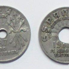 Monedas con errores: ESTADO ESPAÑOL. 25 CENTIMOS DE 1937, PAREJA UNO NORMAL Y OTRO AGUJERO CENTRAL GRANDE. LOTE-3639. Lote 240148115