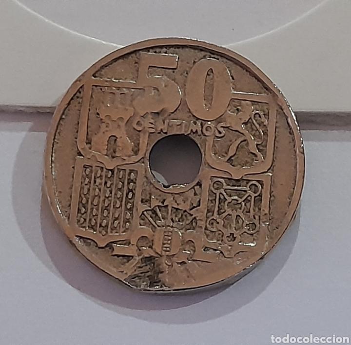 50 CÉNTIMOS 1949 *E *51 CON ERROR DE ACUÑACIÓN. VER FOTOS Y DESCRIPCIÓN. (Numismática - España Modernas y Contemporáneas - Variedades y Errores)