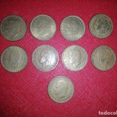 Monedas con errores: 1 PESETA 1975 78 VARIANTE PUNTO EN LA Ñ ( LOTE DE 9 MONEDAS ). Lote 245163545
