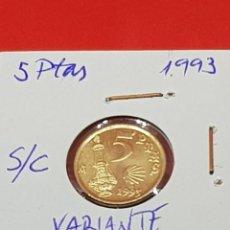 Monedas con errores: 5 PESETAS 1993 VARIANTE CUÑO XACOBEO-LA DEL CINCO- S/C. Lote 252908130