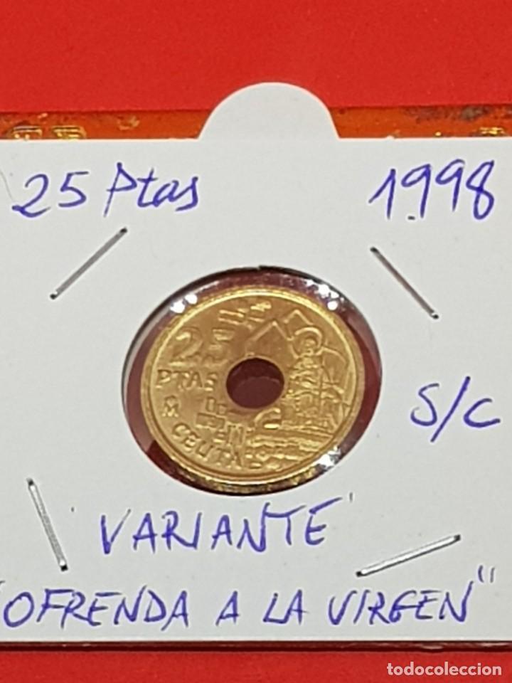25 PESETAS 1998 VARIANTE OFRENDA A LA VIRGEN S/C (Numismática - España Modernas y Contemporáneas - Variedades y Errores)