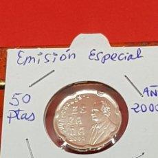 Monete con errori: 50 PESETAS 2000 EMISIÓN ESPECIAL EN PLATA S/C. Lote 252909665