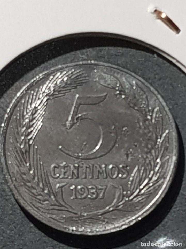 Monedas con errores: 5 CÉNTIMOS 1937 II REPÚBLICA VARIANTE CABEZA PEQUEÑA CUÑO PARTIDO ANVERSO HIERRO SC- - Foto 2 - 252981650