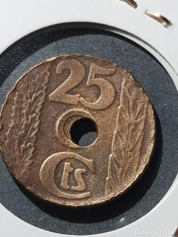 25 CÉNTIMOS 1938 II REPÚBLICA-AGUJERO DESPLAZADO EBC (Numismática - España Modernas y Contemporáneas - Variedades y Errores)