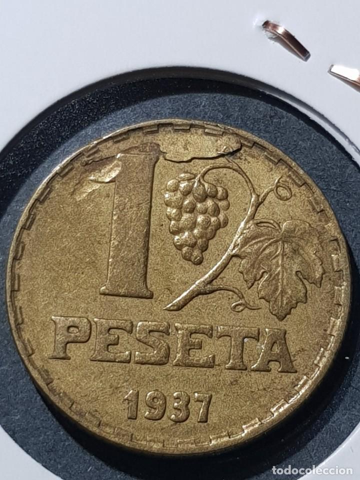 Monedas con errores: 1 PESETA 1937 II REPÚBLICA CUÑO PARTIDO - Foto 2 - 252983515