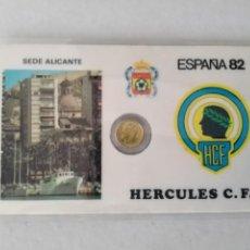 Monedas con errores: RARA TARJETA MEDALLITA MUNDIAL ESPAÑA 82 HERCULES F. C. Lote 259331210