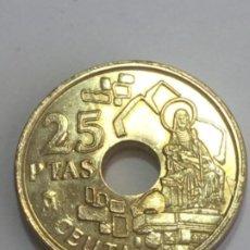 Monedas con errores: * ERROR * 25 PTAS 1998. TRES EXCESOS DE MATERIAL. Lote 262921305