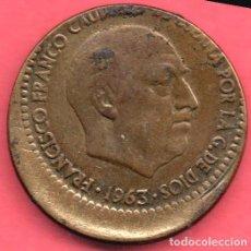 Monedas con errores: BONITO DESPLAZAMIENTO - 1 PESETA 1963 * 67. Lote 263010805