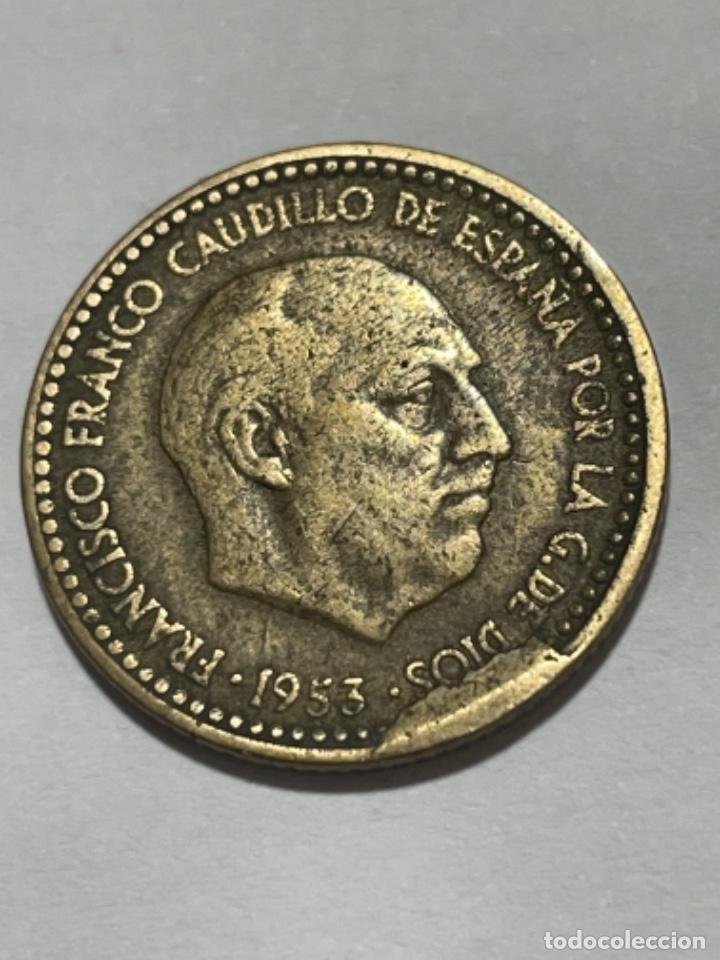 * ERROR * 1 PESETA 1953*62 CUÑO DESCANTILLADO (Numismática - España Modernas y Contemporáneas - Variedades y Errores)