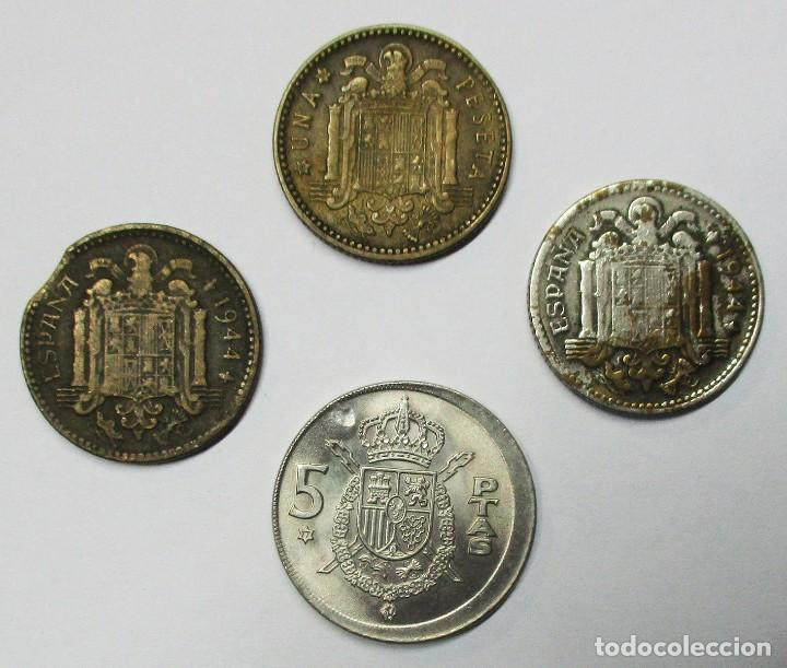 Monedas con errores: ESTADO ESPAÑOL Y JUAN CARLOS I. CONJUNTO DE 4 MONEDAS CON DIVERSOS ERRORES. LOTE-3847 - Foto 2 - 274240653
