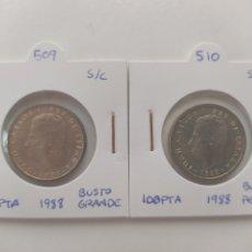 Monedas con errores: MONEDAS 100 PESETAS 1988 BUSTOS GRANDE Y PEQUEÑO. Lote 288545528