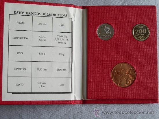 Monedas de España: E 87 1 PESETA Y 200 PESETAS E87 - Foto 2 - 26875465