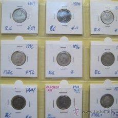 Monedas de España: COLECCION DE 50 CENTIMOS DE PLATA 1869 1880 1885 1892 1896 1900 1904 1910 Y 1926. Lote 34908981