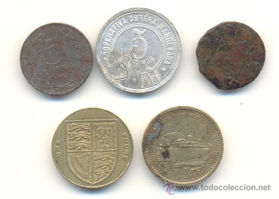 Monedas de España: EXT- BARATO LOTE DE CINCO PIEZAS DIVERSAS. LAS DE LA FOTO. - Foto 2 - 35006812