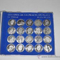 Coins of Spain - COLECCION VEINTE MONEDAS HISTORIA DE LA PESETA EN PLATA 1869 2002. - 35999481