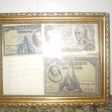 Monedas de España: CUADRO 3 BILLETES 1 DE VEINTICINCO PESETAS 1928. 1 CIEN PESETAS 1928 OTRO DE CIEN PESETAS 1970. . Lote 39647126