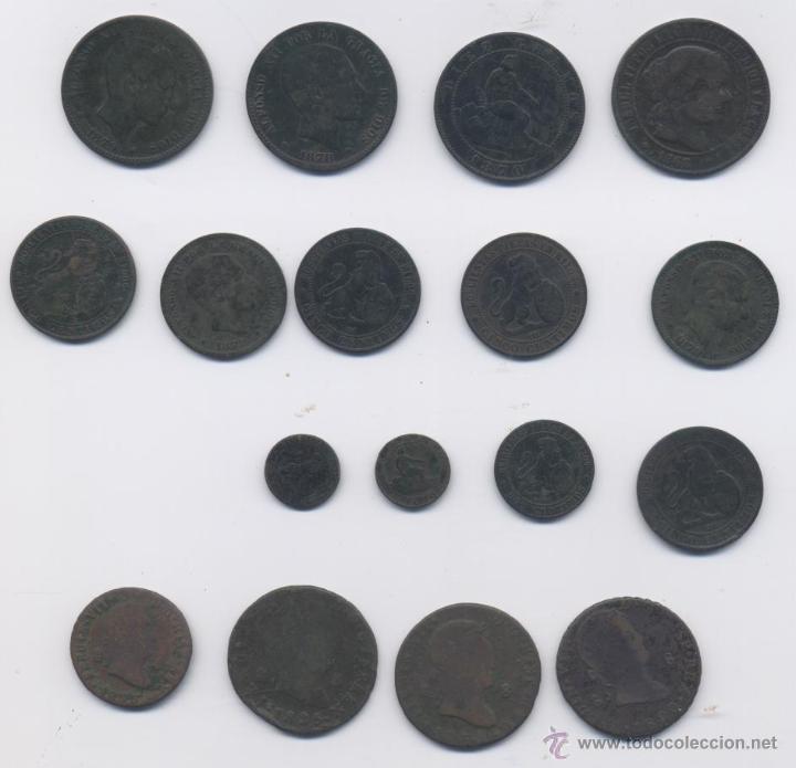 LOTE DE 17 COBRES (Numismática - España Modernas y Contemporáneas - Colecciones y Lotes de conjunto)