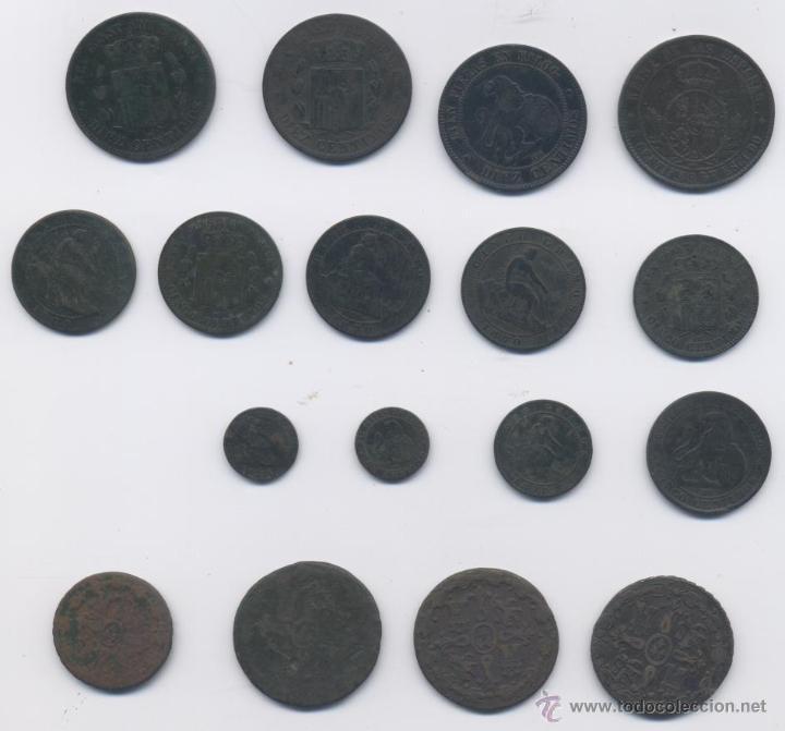 Monedas de España: LOTE DE 17 COBRES - Foto 2 - 40028108