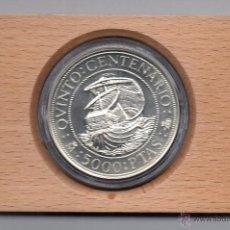 Monedas de España: QUINTO CENTENARIO-SERIE I-AÑO 1989-FNMT- DE 5.000 `PESETAS CON ESTUCHE Y CERTIFICADO. Lote 46917290