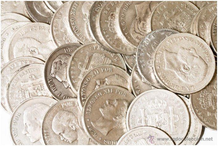 LOTE DE 16 MONEDAS DE DUROS DE 5 PESETAS DE PLATA (Numismática - España Modernas y Contemporáneas - Colecciones y Lotes de conjunto)